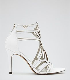Womens Off White Cut Out High Sandals - Reiss Hayden