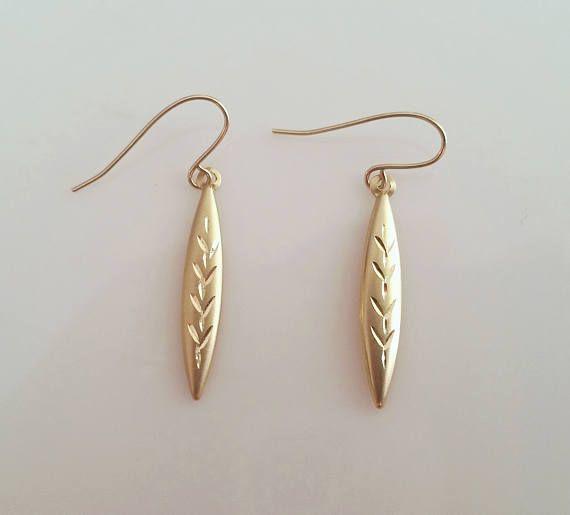 14kt Yellow Gold Diamond Cut Drop Earrings European Zz 585 By Sy Dame Vintage
