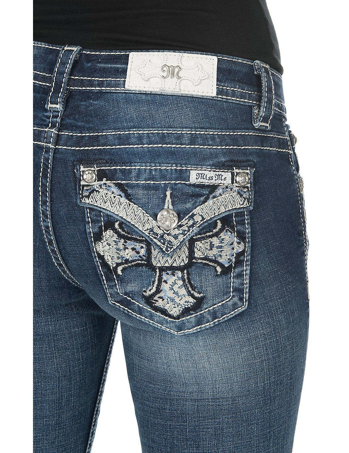 Miss me women s medium wash with embroidered cross flap