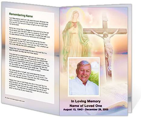 Catholic Mass Ceremony Programs Vision Single Fold Funeral Program