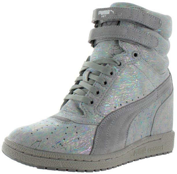 441298e1bd7a Puma Sky Wedge Iri Suede Womens Platform Sneakers Shoes Gray Size 6 ...