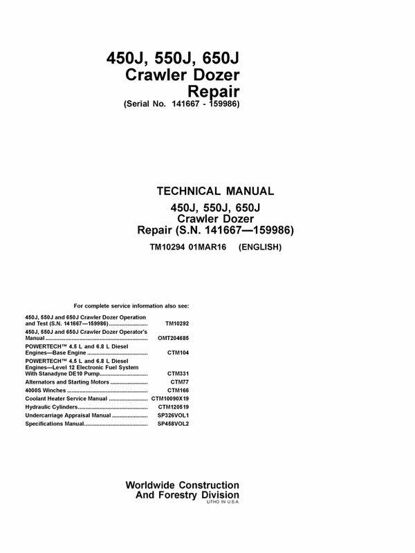 Download John Deere 450j 550j 650j Crawler Dozer Repair Service. Download John Deere 450j 550j 650j Crawler Dozer Repair Service Technical Manual Tm1029. John Deere. John Deere 450j For The Hydraulic System Schematics At Scoala.co