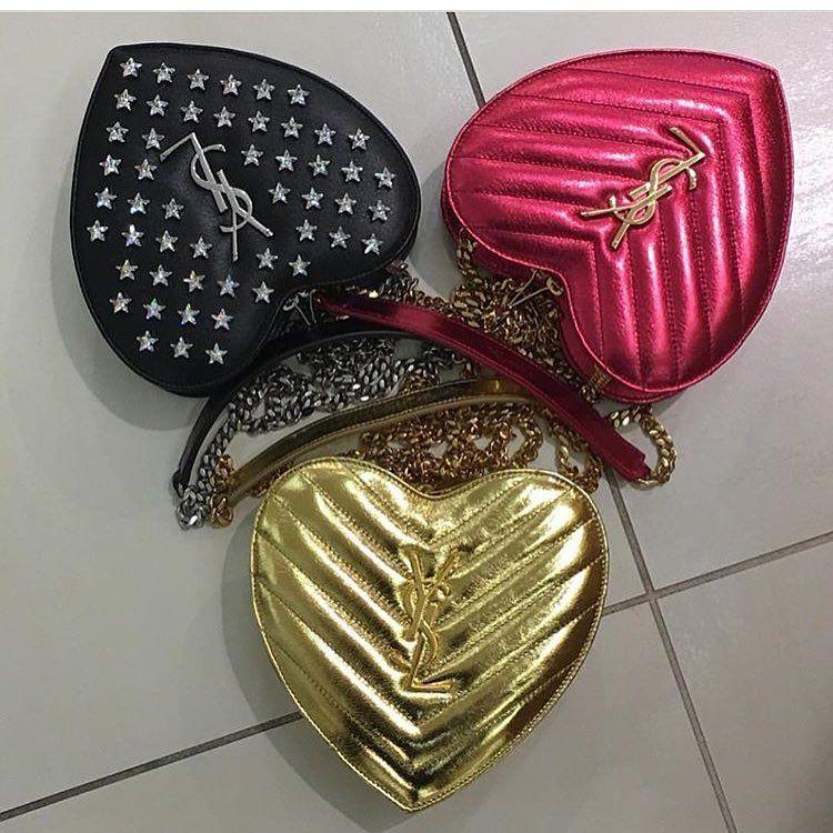 61a0de95a1 A Closer Look  Yves Saint Laurent Love Heart Chain Bag