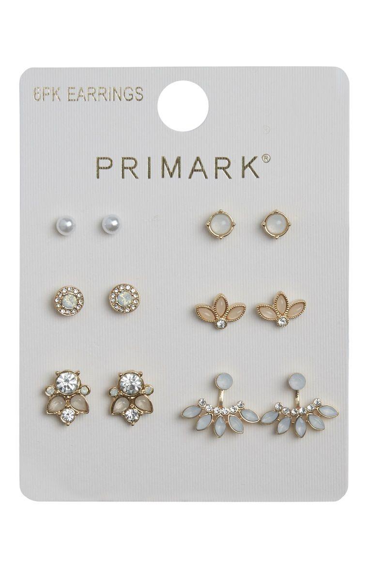 Primark 6 Pack Rhinestone Stud Earring Set