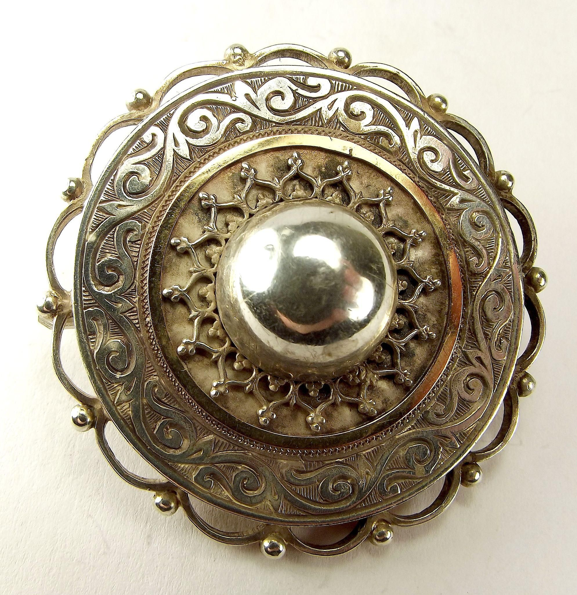 856ac4fa02a Victorian Silver & Gold Domed TARGET Pin Brooch Glazed LOCKET Back ...