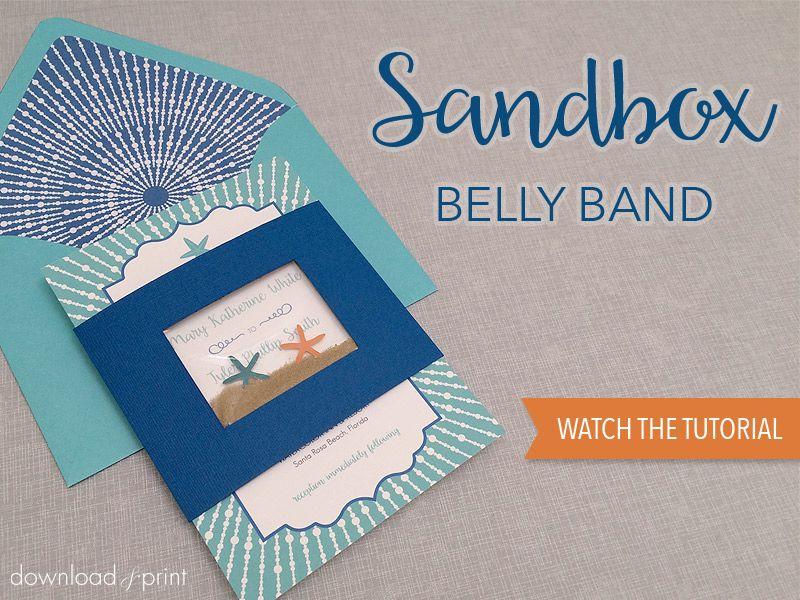 DIY Sandbox belly band for beach wedding invitation Free download