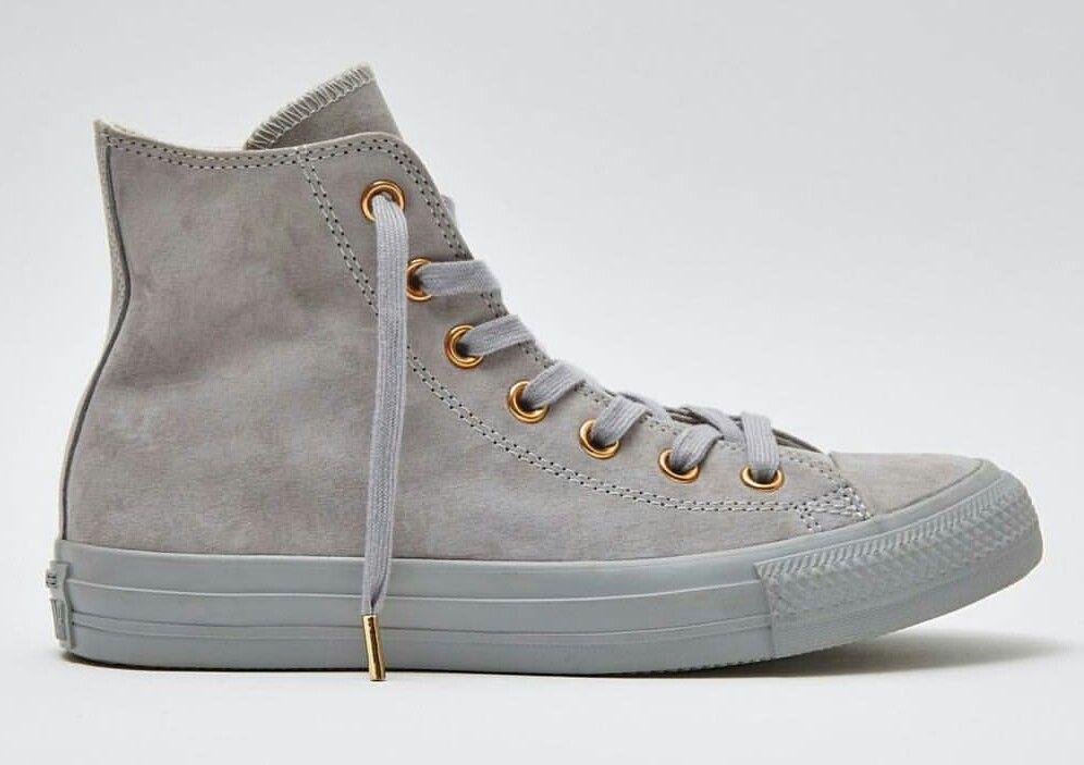 f509726a4ca Grey suede converse with rose gold detail
