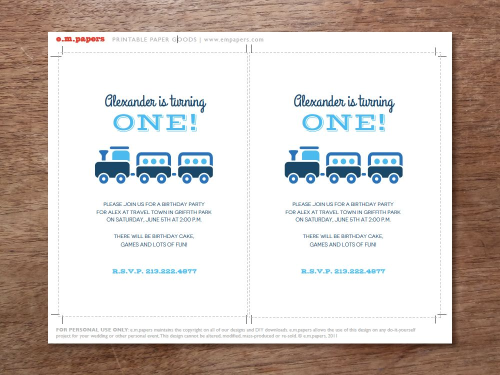 Printable Kids Birthday Party Invitation - Choo Choo Train ...