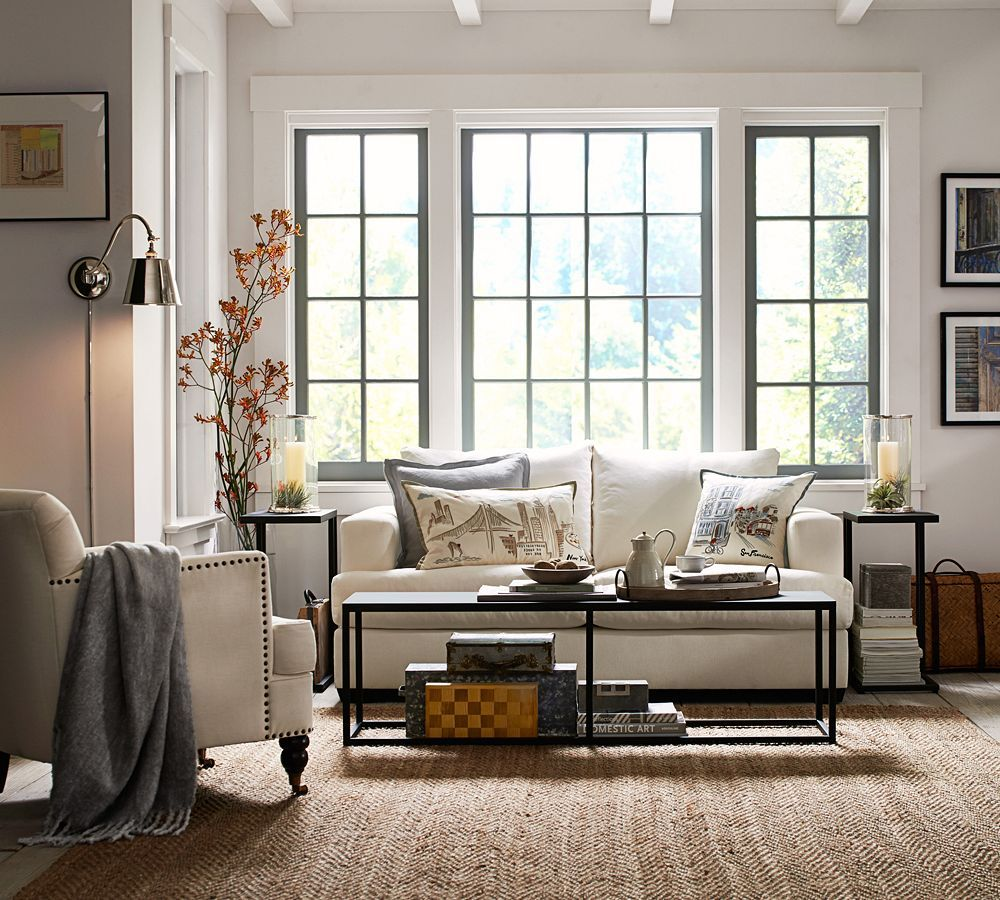 Barn window decor  a beautiful and neutral living room potterybarn  for the home