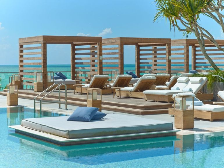 Hotel outdoor pool design  You're the One: 1 Hotel's Miami Beach Debut by Meyer Davis Studio ...