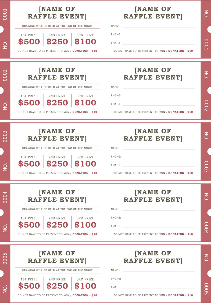 Raffle Ticket Template   Positively Printable