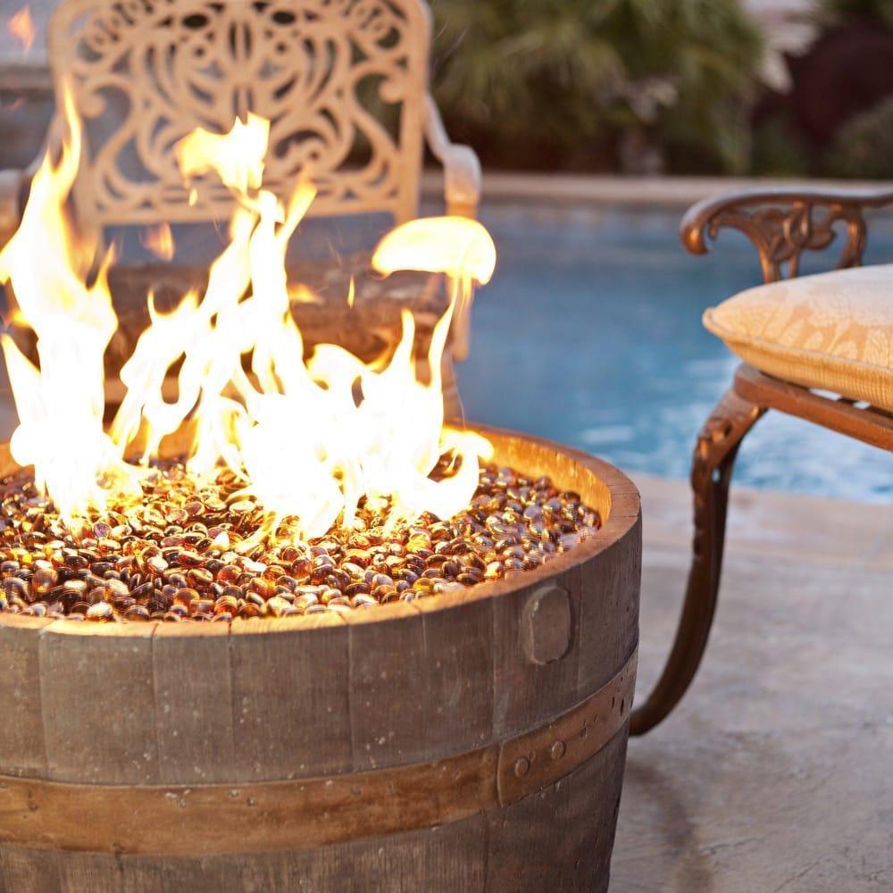 Tretco 25 Inch Wine Barrel Round Liquid Propane Concrete Fire Pit