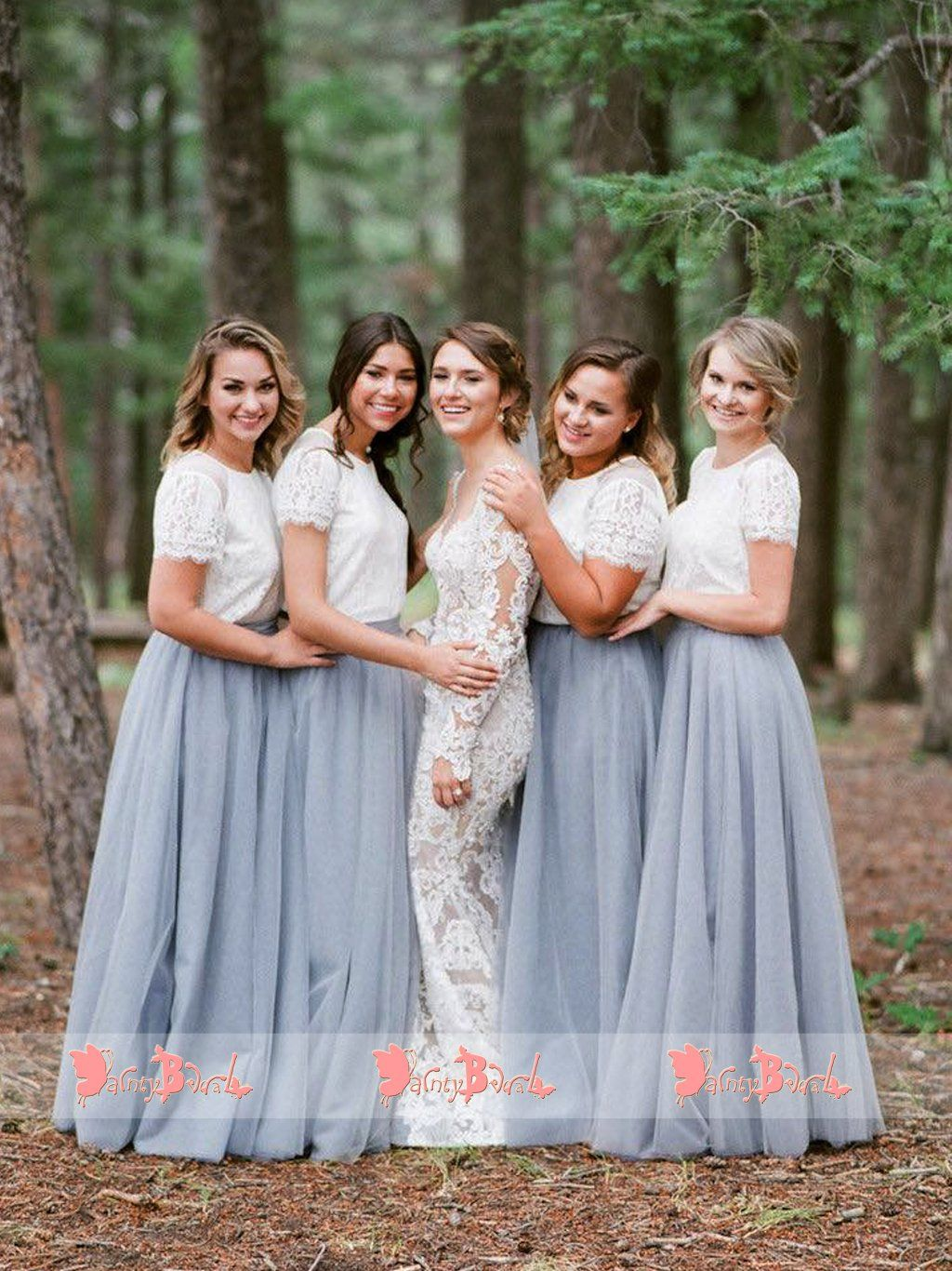 White lace wedding dress with short sleeves  Off White Lace Top Grey Tulle Popular Two Piece Bridesmaid Dresses