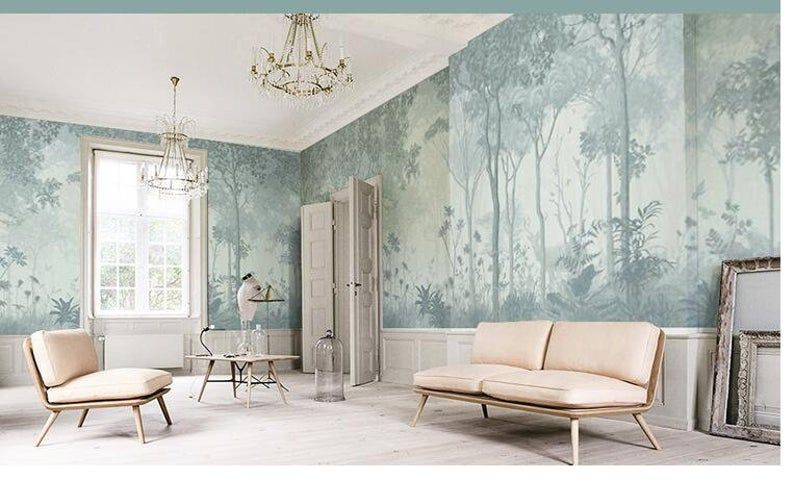 Oil Painting Abstract Forest Scenic Wallpaper Wall Mural Retro Shabby Forest Landscape Wall Mural Vintage Trees Wall Mural Wall Decor Scenic Wallpaper Tree Wall Murals Wall Murals