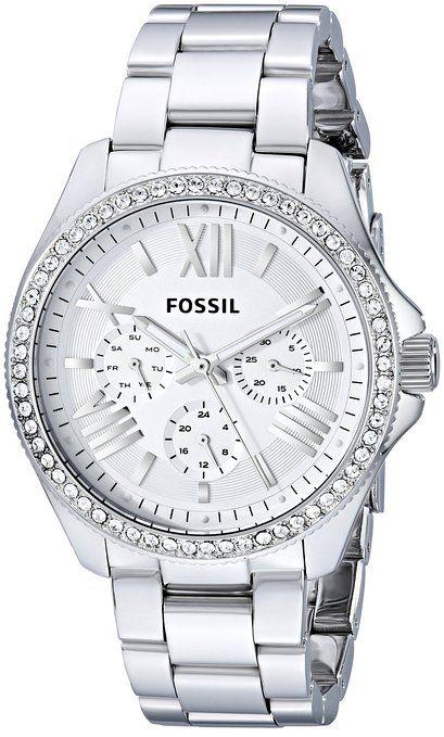 05cef70039076 Fossil - AM4481 - Montre Femme - Quartz Analogique - Cadran Argent -  Bracelet Acier Argent