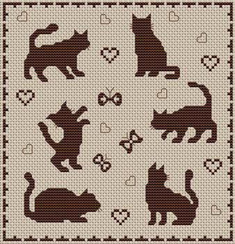 cat silhouette cross-stitch chart