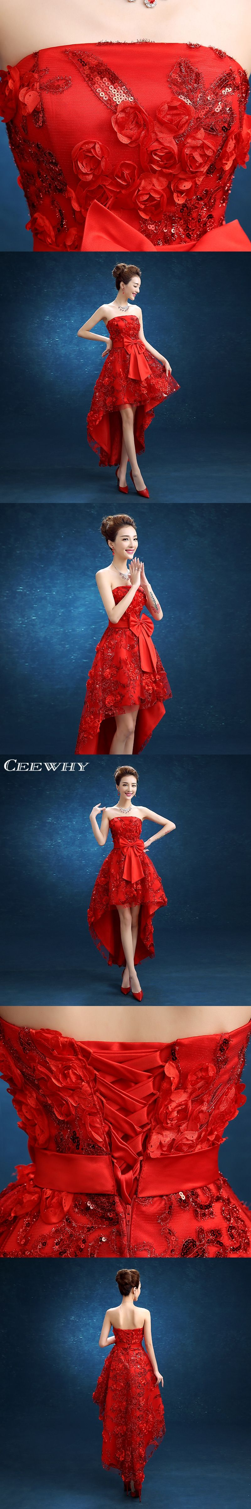 Ceewhy red strapless appliques anklelength evening dresses short