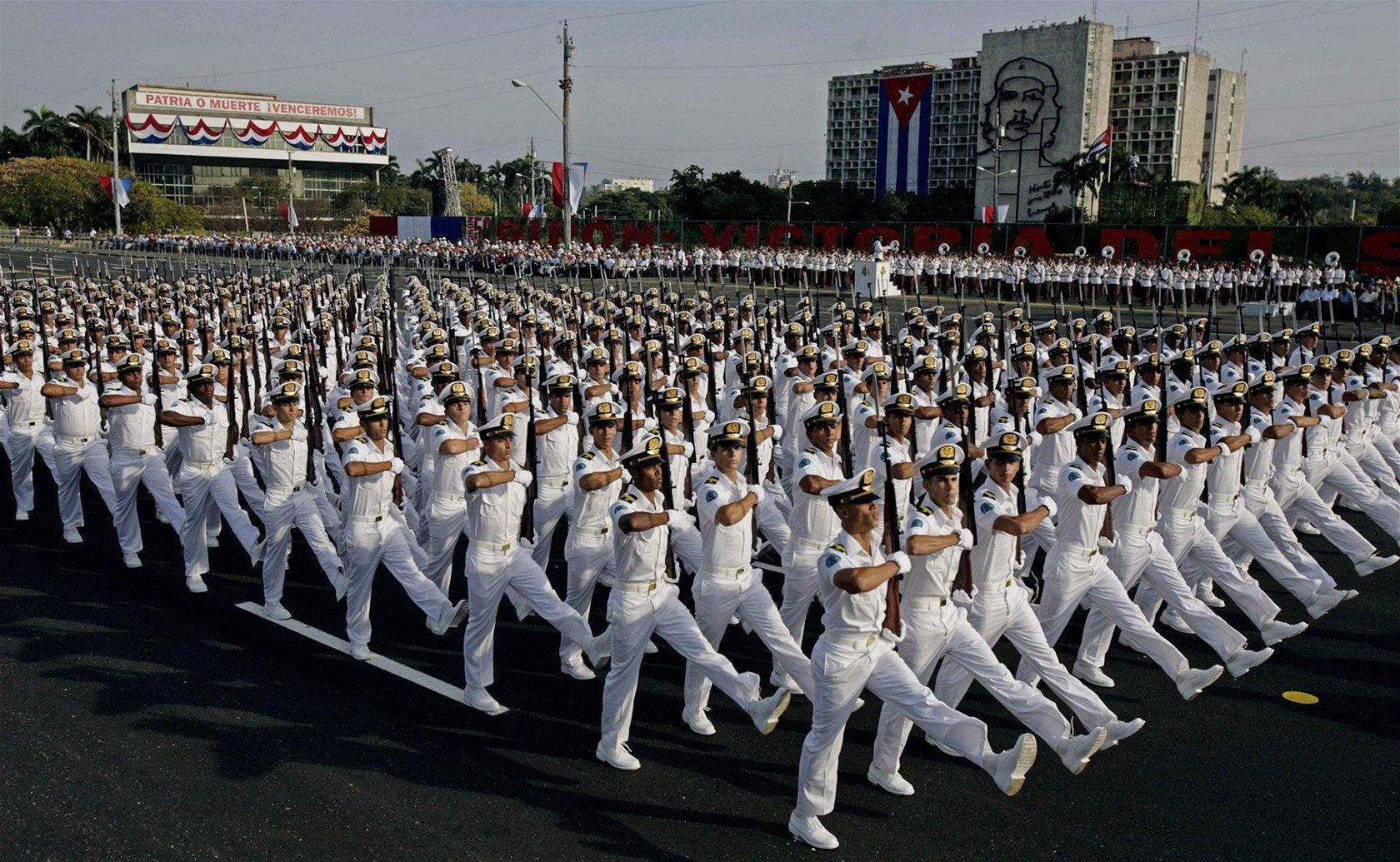 Cuban Navy Cadets Of The Granma Naval Academy Marching Through The Plaza De La Revolución At The 50th Anniversary Parade For The 1961 Raúl Castro Cuba Castro