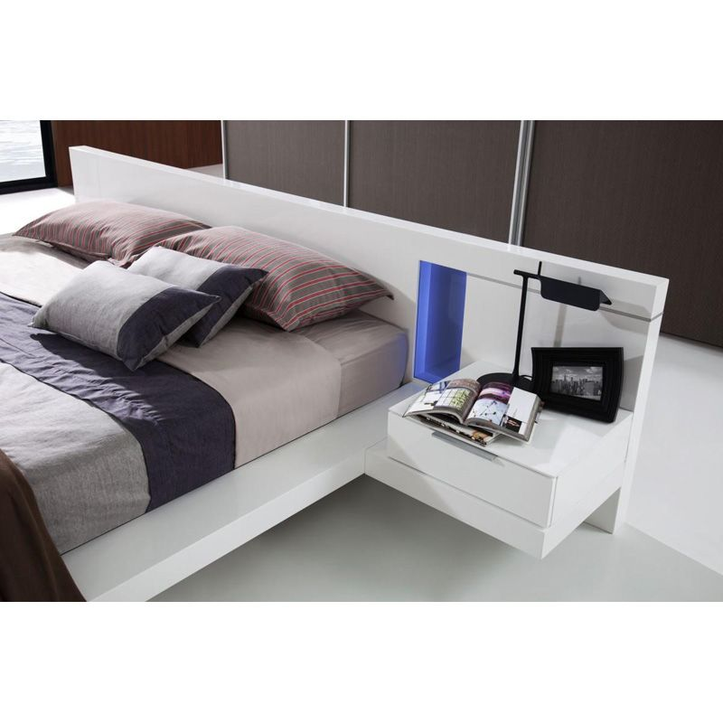 Modrest Alaska Modern California King Bed White Platform Bed