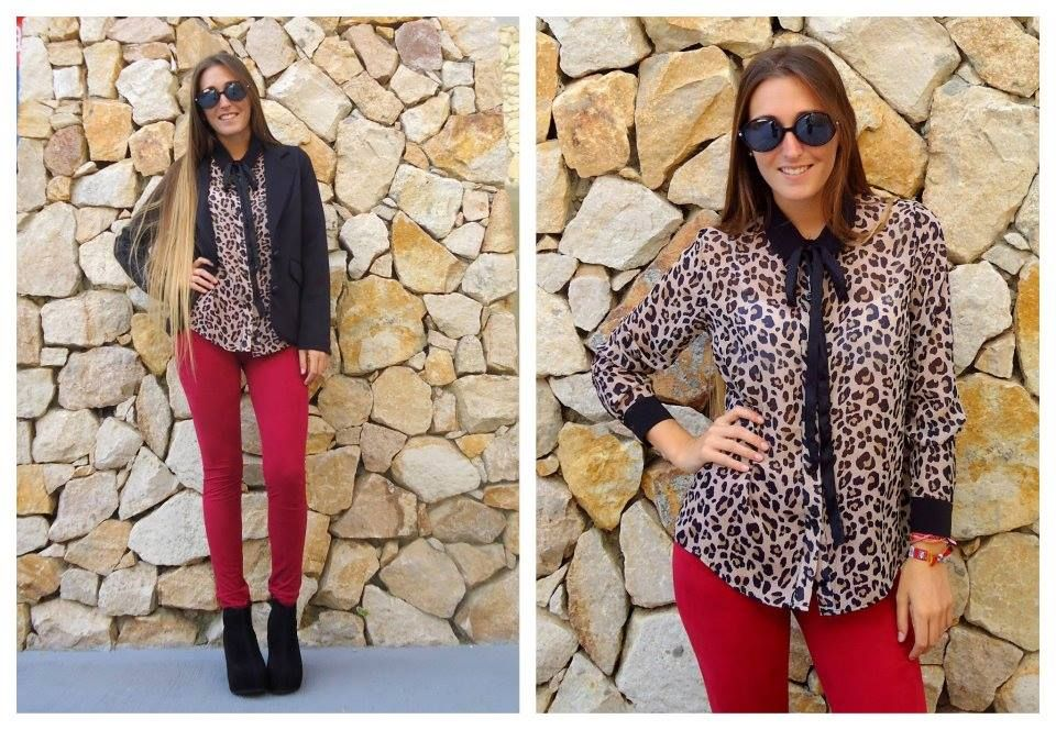Blusa animal print ♥ y leggins rojas!
