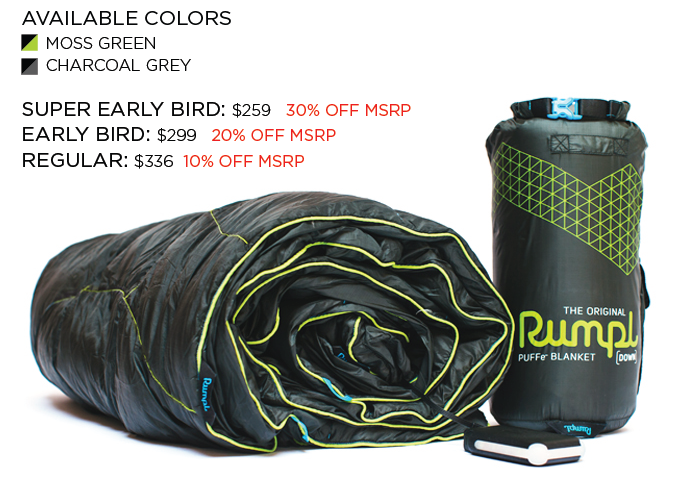 The Puffe Blanket In Natural Down Fill Reward Includes Blanket Stuff Sack Battery And Powe Battery Powered Heated Blanket Portable Battery Heated Blanket