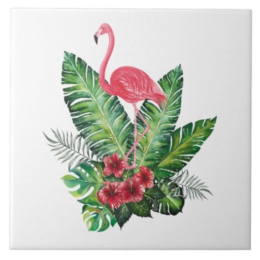 Hand Drawn flamingo Decorative Ceramic Photo Tile