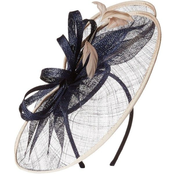 Scala Women's Sinamay Bow Fascinator ($60) ❤ liked on Polyvore featuring accessories, hair accessories, navy blue fascinator hats, navy blue hair accessories, hair fascinators, hair bow accessories and fascinator hats