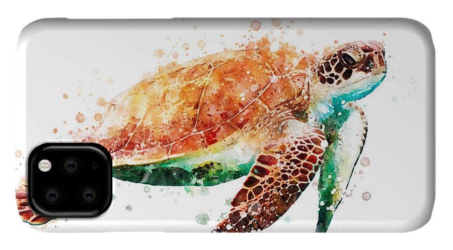 Sea Turtle IPhone Case featuring the painting Sea Turtle Watercolor by Print Center
