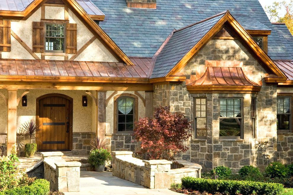 Roof Over Door Entry Copper Portico Roof Entry With Bay Window Shed Roof Over Entry Door Beautiful Roofs Farmhouse Style Exterior Stucco Homes