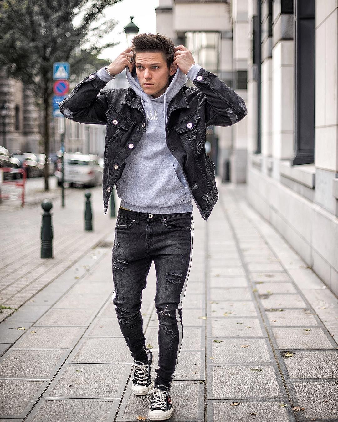 Loic Van Lang On Instagram It S Only Cold If You Re Standing Still Ripped Jeans Jacket Fro Stylish Mens Outfits Mens Fashion Jeans Jeans Outfit Men [ 1350 x 1080 Pixel ]