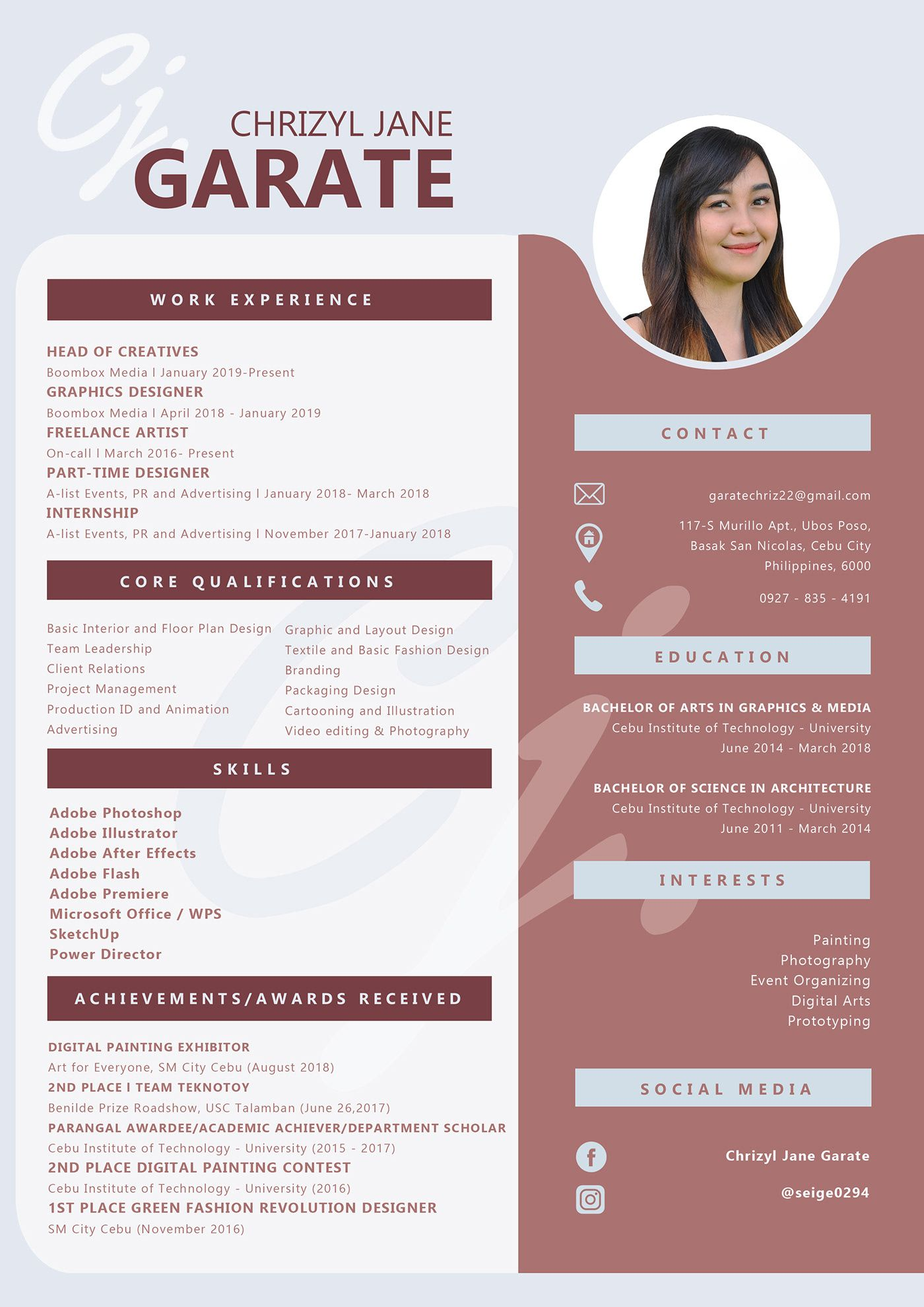 Graphic Designer Resume Cv Creative One Page Resume Graphic