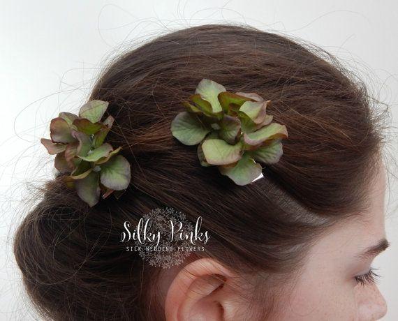 Hair Accessory, Green Hydrangea Hair Clips, Green Hair Clasps, Floral Hair Clip, Flora Clips,