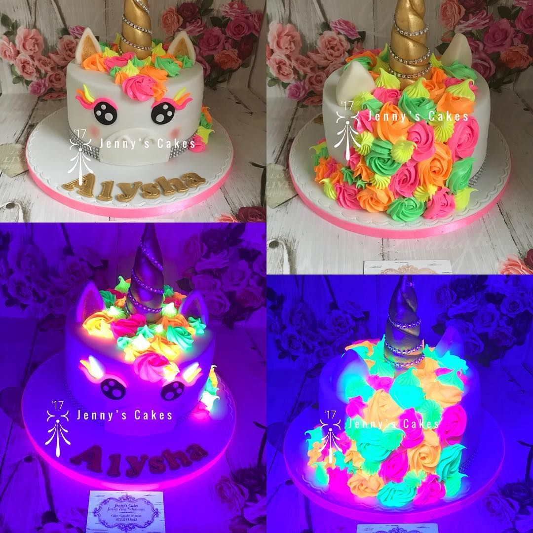 Remarkable Neon Glow In The Dark Unicorn Birthday Cake Beautifulcakes Cake Personalised Birthday Cards Veneteletsinfo