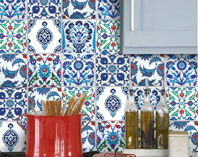 Aufkleberbogen Sticker Für Bad Und Küche Backsplash Oder Boden Fliesen:  Türkische Patchwork TK001