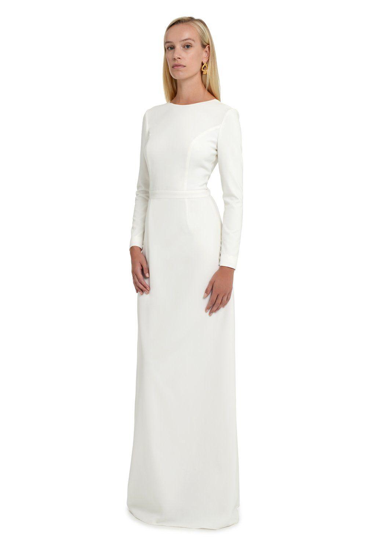 Backless column wedding dress with sleeves column