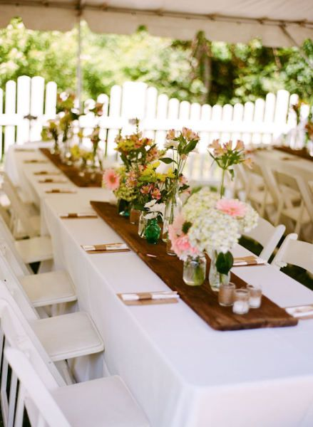 RECLAIMED WOOD RUNNERS!!!! Mom, get me barnwood! ore manageable size banquet tables {reclaimed wood as a runner}