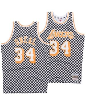 333c38db9 Mitchell   Ness Men s Shaquille O Neal Los Angeles Lakers Checkerboard Swingman  Jersey - White XXL