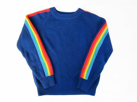 vintage sweater / raglan / rainbow striped / 1970s navy knit ...