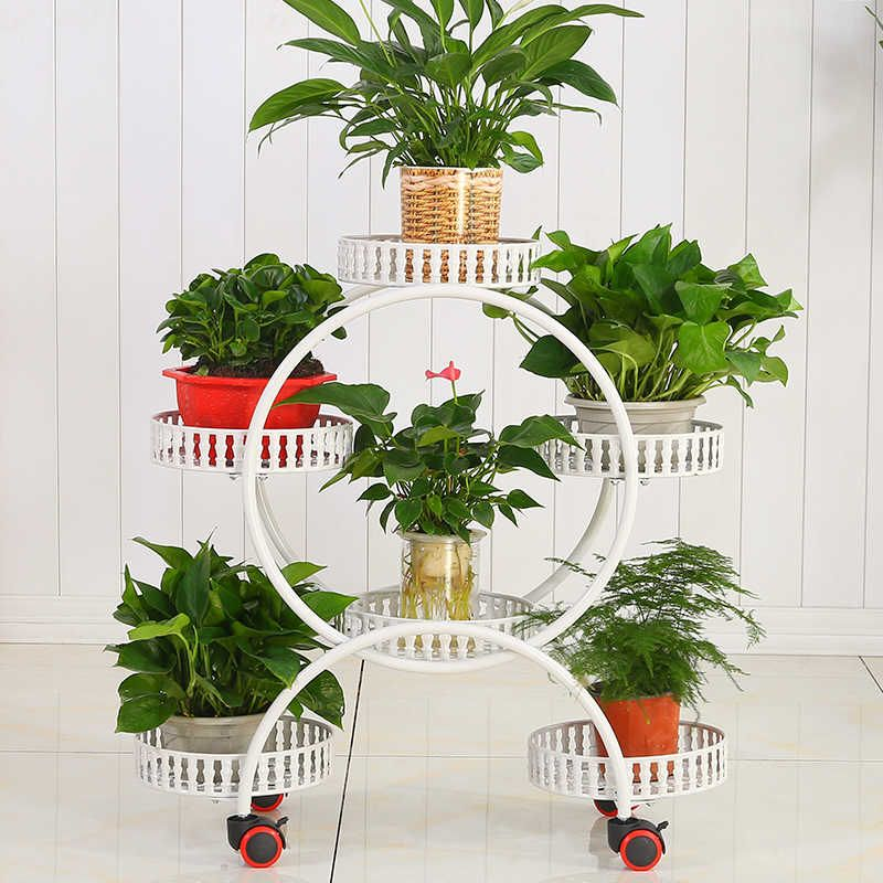 Stands With Wheels Metal Plant Holder
