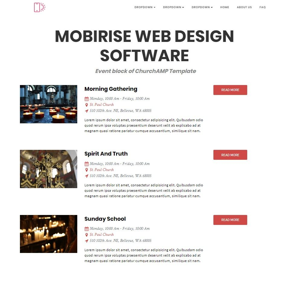 Mobirise Web Design Software Event Block Of Churchamp Template Web Design Software Web Design Templates