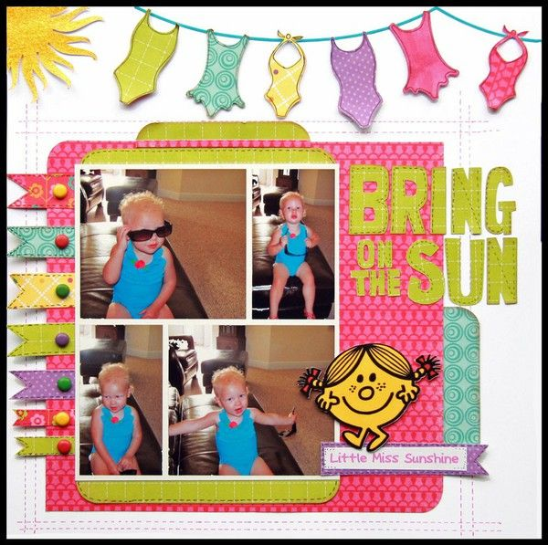 Layout, 4 photo. Love the bright colors. Can imagine changing the theme to beach colors and boy's swim trunks.