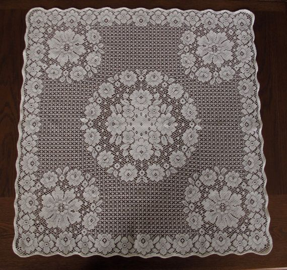 Ivory Vintage Lace Square Table Topper Overlay For Weddings