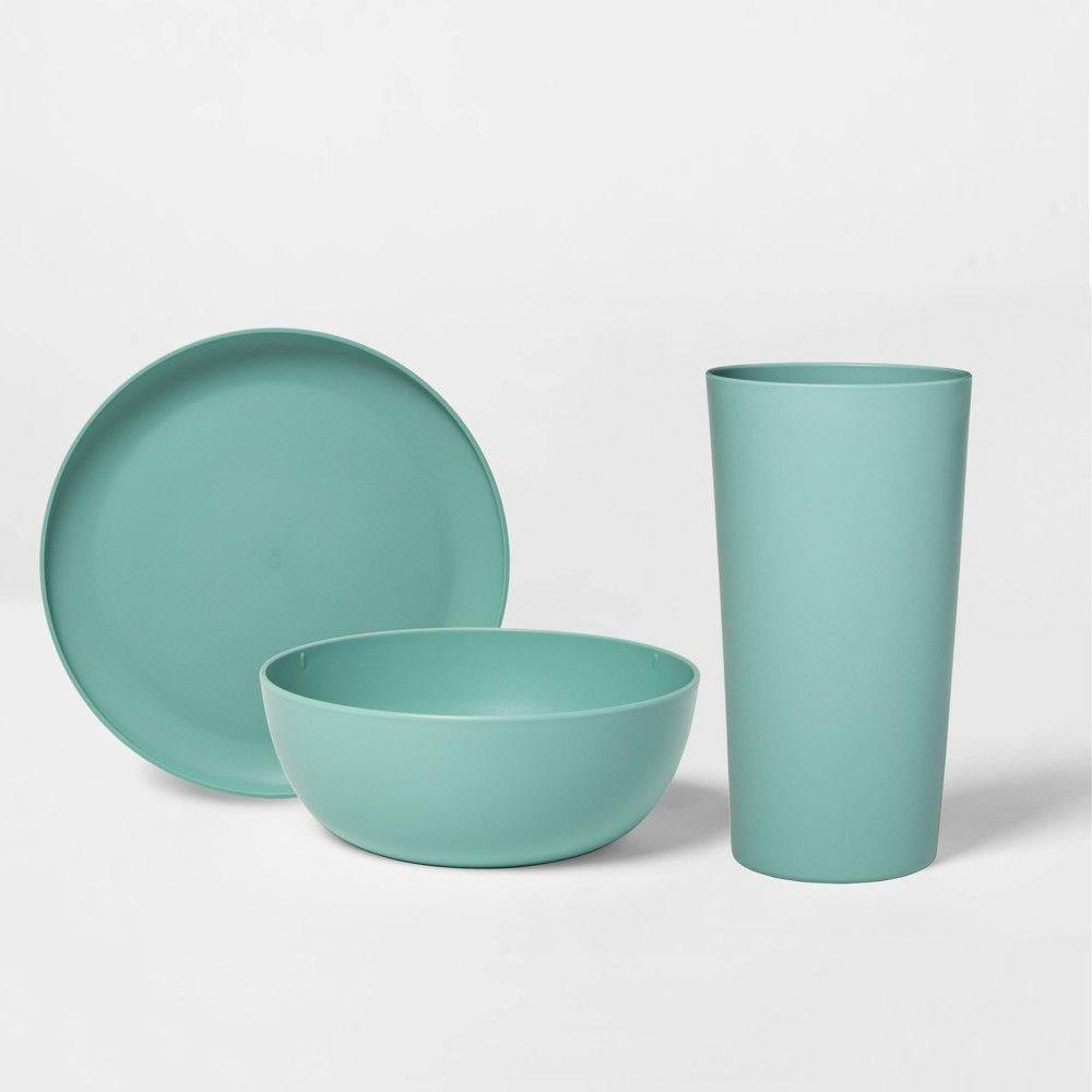 12pc Plastic Dinnerware Set Green Room Essentials Plastic