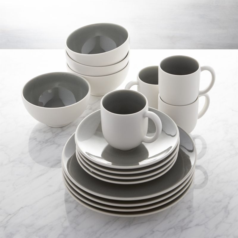 Jars tourron grey 16 piece dinnerware set crate and for Kitchen set grey