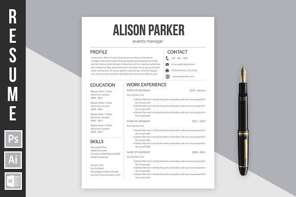 Resume Template Alison Parker By Buenofloresdesign On