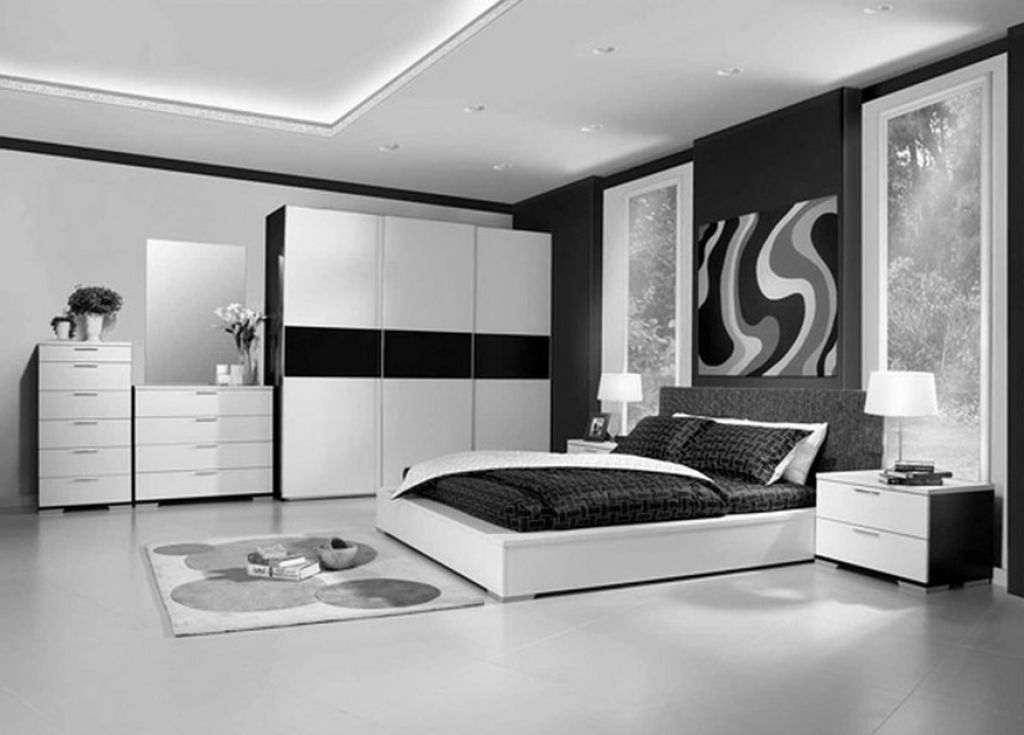 captivating modern bedroom for young man with black and white