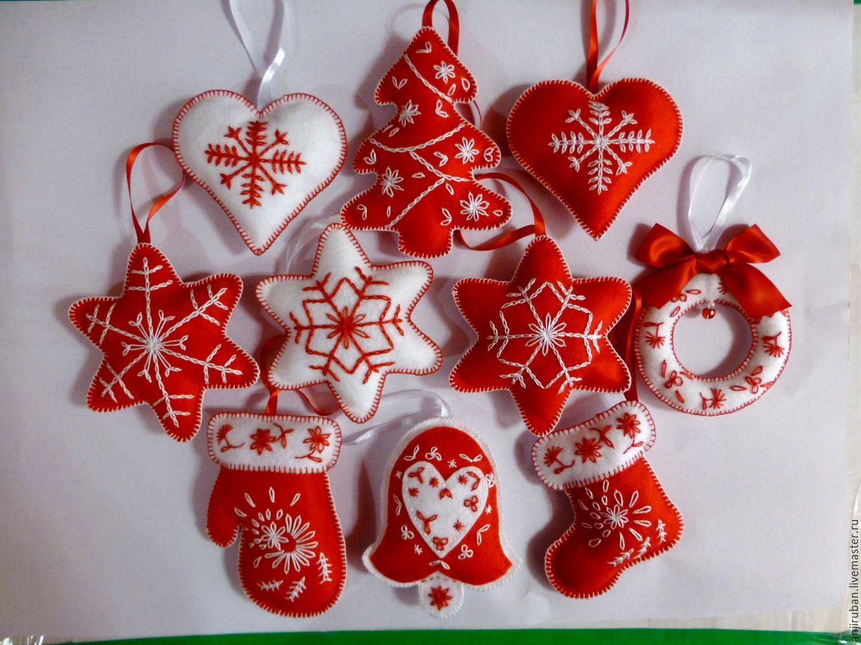 Купить или заказать Новогодние игрушки из фетра в интернет ...