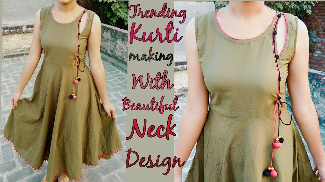 Trending kurti making with designer neck design arman pinterest