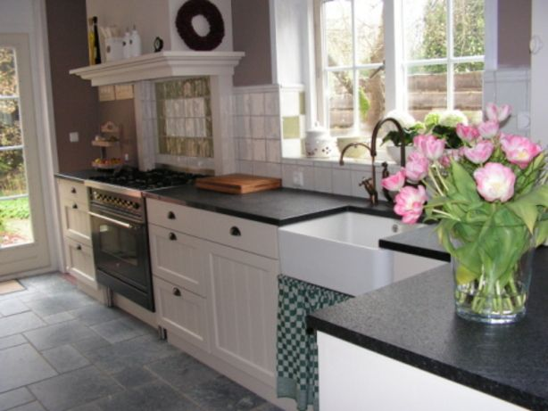 Landelijke keuken keuken keuken fornuis en
