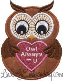 Download Owl Always Love You Applique (2.9 x 3.8-in) | Machine ...